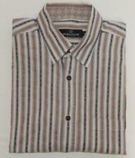 BUGATCHI UOMO Men's Beige Black Geometric Flip Cuff L/S Button Down Shirt Size L