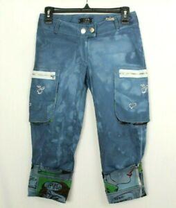 Blu Firenze Womens Capri Pants Tie Dye Blue Stretch Size S Italy