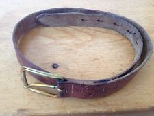 """Vintage Leather Handtooled Embossed Girl Scout Belt w/ Brass Buckle 31"""" Long"""