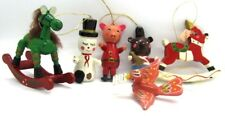 Wooden Ornaments lot of 6 Vintage 1950s Horses Pigs Bird Snowman Taiwan