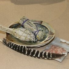 ABALONE SHELL WITH SAGE STICK & WAND + 50 GR FRANKINCENSE RESIN FOR SMUDGING