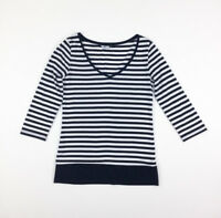 Women's NOW Size 10 striped black & white stretch cotton top v-neck 3/4 sleeves