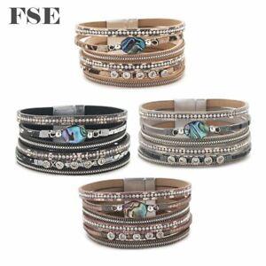 Women Leather Wrap Bracelet Magnet Clasp Stone Charms Bracelet Multi Color 028