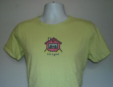 WOMENS LIFE IS GOOD T SHIRT MEDIUM HOUSE HOME FAMILY NESTLE GREEN RELAXED FIT