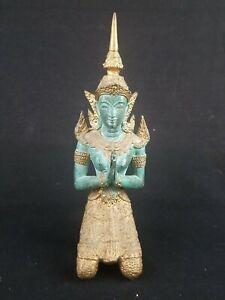 Vintage Bronze Gold Gilt Thailand Teppanom Kneeling Guardian Angel Statue Buddha