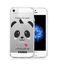 Coque Iphone 5 5S SE panda coeur rose cute kawaii transparente