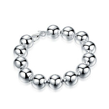 Fashion Women Silver Plated Metal Bangle Cute 1.4Cm Beaded Bracelet Jewelry  YG