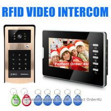 "WIRED 7"" VIDEO DOOR PHONE INTERCOM SYSTEM+ RFID CARD & PASSWORD ACCESS CAMERA"