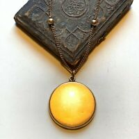 Victorian Pendant Locket and Necklace Gold fill chain 18in vtg