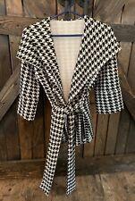 XTAREN Size Small Black White Houndstooth Hooded Jacket Blazer Tie Belt Coat