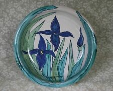 Hand Thrown Hand Painted Pottery Pie Dish Iris Floral Signed Noble 9 R x 1 7/8 D
