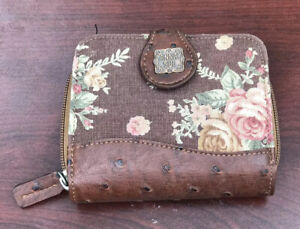ANNA SUI Bi-Fold Wallet Women's Accessories Leather & Rose Fabric