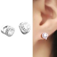 Solid 925 Sterling Silver Cut CZ Halo Flower Dome Huggie Hoop Earrings Jewellery