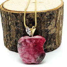 Gold Plated Pink And Green Stone Apple Pendant Necklace