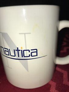 Set Of Two Nautica Ceramic White Coffee Mugs 10 Ounces
