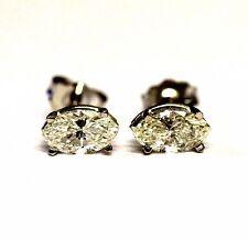 14k white gold SI1-VS2 H .60ct marquise diamond stud earrings .6g vintage
