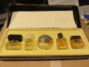 Vintage Mini Perfume Bottle Set  5 in Box LES MEILLEURS PARFUMS DE PARIS 1950's