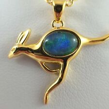 Australian Kangaroo Genuine Triplet Opal Necklace Twice 18ct Gold Plated Pendant