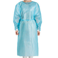 100pcs Disposable Medical Dental Isolation Gown Blue With Knit Cuff Gowns