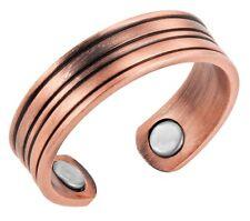 Bague magnétique en cuivre avec aimants - Strié