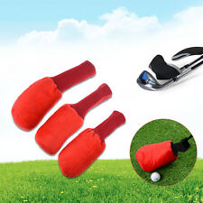 3Pcs Red Golf Club Knitted Head Covers Protector Sleeve For Golf Wood Driver