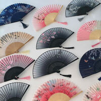 Japanese Chinese Hand Fan Folding Silk Bamboo Retro Printing Wedding Dance Prop