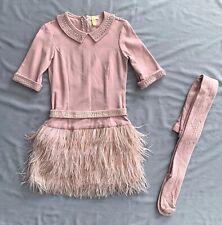 Miss Grant Couture DRESS 40 Ostrich hair skirt & TIGHTS SET 10 - 11 SZ 11a 146