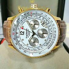 Krug Baumen Air Traveller Mens Diamond 40mm Gold Watch Brown Leather NEW