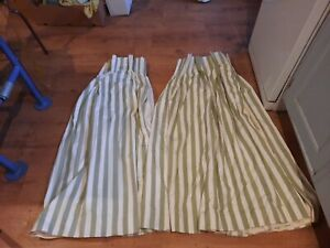 Green  and white striped curtains 260cm wide x 124cm long