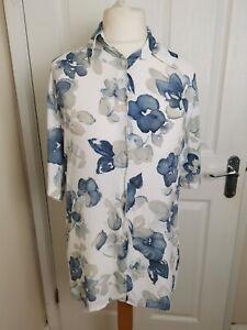 Vintage 1980s Gina G White Blue Floral Women's Short Sleeved Blouse Size UK 16
