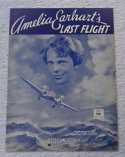 NOS sheet music Amelia Earhart's Last Flight 1939 Barbelle cover graphic