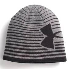 NWT-Yth Kids Boys Steel Gray Black Striped Under Armour Winter Beanie Hat- 8-20