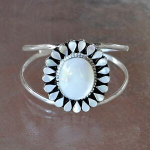 Artisan Mother of Pearl Silver Cuff Bracelet from Taxco Mexico