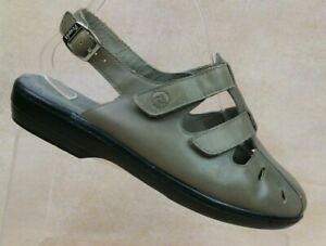 Propet Grenada Gray Leather Slingback Closed Toe Sandals W0304 Women's 6.5 W(D)