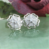 White Gold Filled Silver Toned Flower Stud Earrings Made With Swarovski Crystal