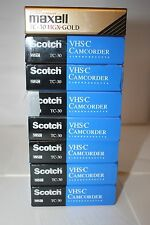 New Lot of 8 Scotch/Maxwell TC-30 VHS-C Tape Camcorder Videocassette HGX-GOLD