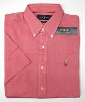 NWT $85 Polo Ralph Lauren Short Slv Chambray Oxford Shirt Mens Red Cotton