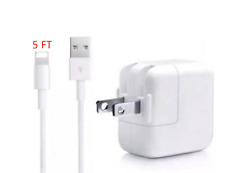 White USB AC 10W Wall Charger w/ 5Ft cable For Apple iPhone iPad 4 iPad Air