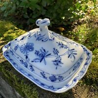 """ANTIQUE Meissen Blue Onion Covered Serving Dish with Lid 9 3/4"""" Oval Backstamp"""