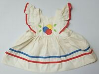 Vintage Cradle Togs Baby Girls Dress Polka Dots Red Yellow Blue Floral Ruffle