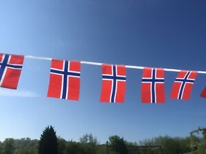 Norway Norwegian Fabric Bunting various lengths free 1st class postage