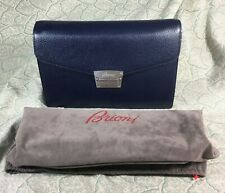 NWT Brioni Dark Blue Leather Clutch Bag For Men