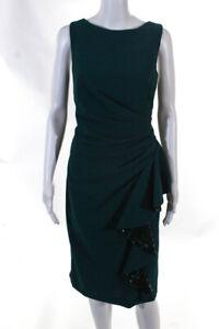 Carmen Marc Valvo Womens Sequin Ruffled Sleeveless Sheath Dress Green Size 12