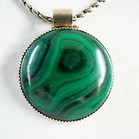"Tommy Billy (RIP) Navajo Malachite Sterling Silver pendant necklace 1.5"" 47g"