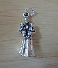 Sterling Silver 9x24mm Mother hold Twins 2 boys 2 girls 1 boy 1 girl Baby Charm