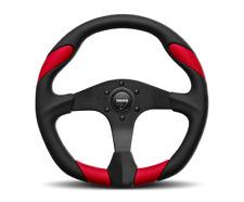 Momo Quark Steering Wheel Black Red Polyurethane 6 Bolt UTV Polaris RZR X3 YXZ