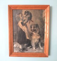 Lithograph Engraving Girl, Puppy & Border Collie Dog B&W Framed Print Antique