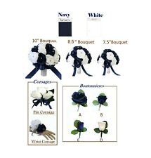 Build Wedding Package - White and Navy Blue Roses Keepsake Artificial Flowers