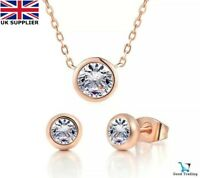 18K ROSE GOLD FILLED ROUND NECKLACE EARRINGS SET MADE WITH SWAROVSKI CRYSTALS