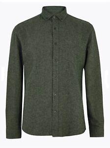M&S Mens Pure Cotton Flannel Shirt  Dk Khaki Large 3XL  Rrp £29.50